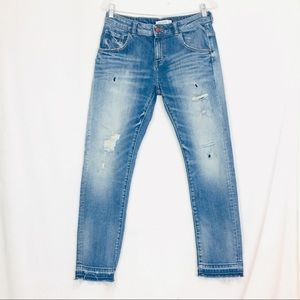 Zara Basic Z1975 Distressed Frayed Hem Denim jeans